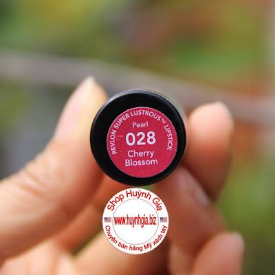 Son Revlon Super Lustrous Lipstick cherry blossom 028 màu đỏ cherry mỹ phẩm xách tay www.huynhgia.biz