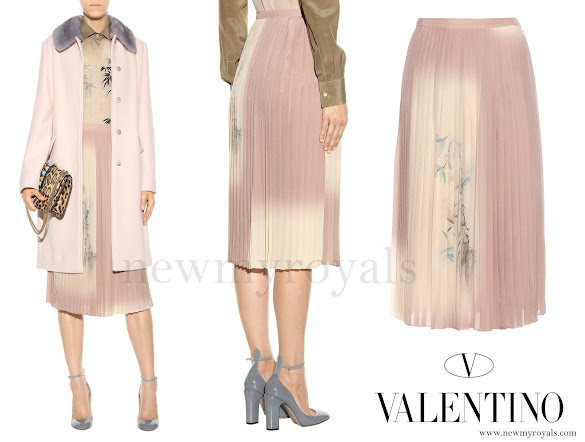 Princess Madeleine wore VALENTINO Pleated printed silk skirt