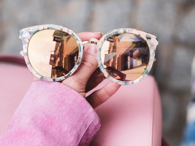 розовые солнцезащитные очки Carin Южная Корея цена
