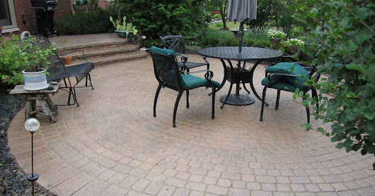 Patio Ideas with Pavers at Backyard of Chalet