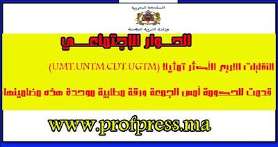 النقابات الاربع الأكثر تمثيلا (UMT.UNTM.CDT.UGTM) قدمت للحكومة أمس الجمعة ورقة مطلبية موحدة هذه مضامينها: