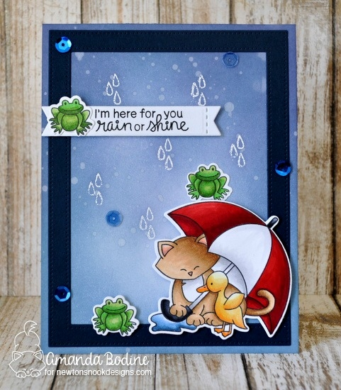 Cat and Umbrella Card by Amanda Bodine | Newton's Rainy Day stamp set and die set by Newton's Nook Designs #newtonsnook