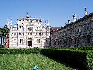 The facade of the Certosa in Pavia