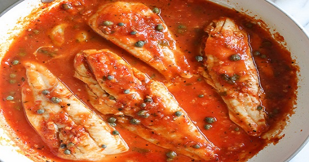 Skillet Fish Fillet With Tomatoes, White Wine And Capers Recipe