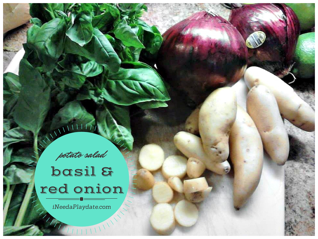 red onionpotatoes, and basil