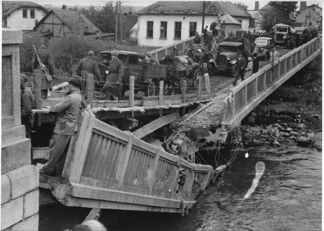 Мост через Любину в Пршиборе 1945 год