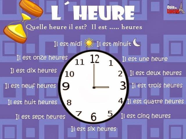 Godziny - słownictwo 8 - Francuski przy kawie