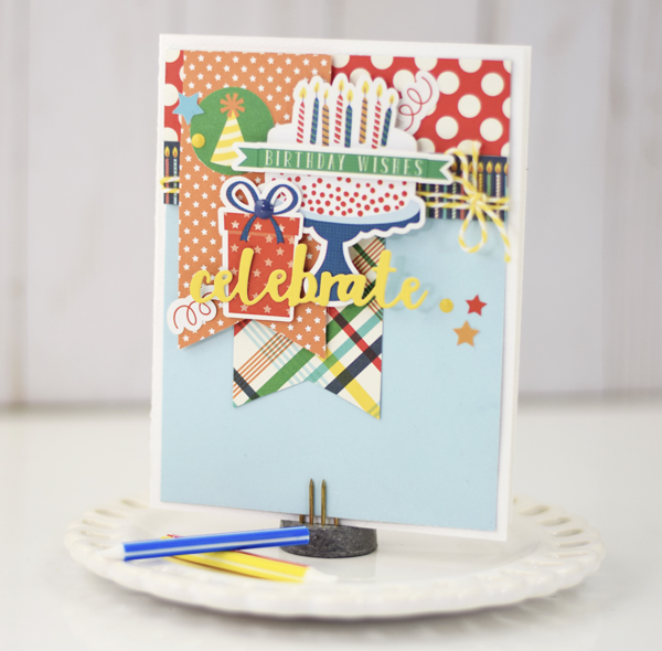 Simply tya celebrate card echo park happy birthday boy collection i then used a piece of 4 x 5 14 inch light blue paper from the coordinating solids paper pack this paper was added to the card base bookmarktalkfo Image collections