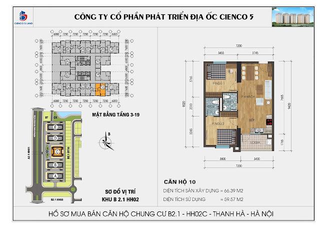 Mặt bằng căn hộ số 10 HH02C khu B2.1 Thanh Hà Mường Thanh