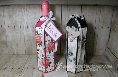 Paper Wine Bottle Cover, Stampin'Up!, Frenchiestamps,