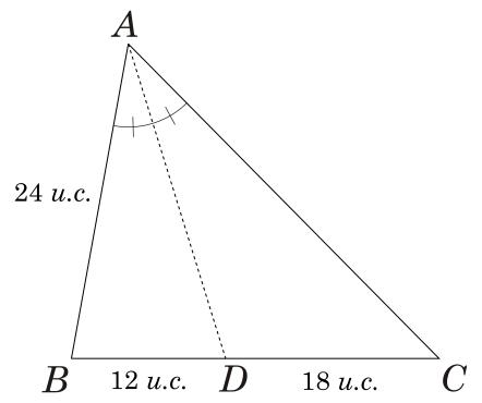 Exercício 1 sobre o Teorema da bissetriz interna