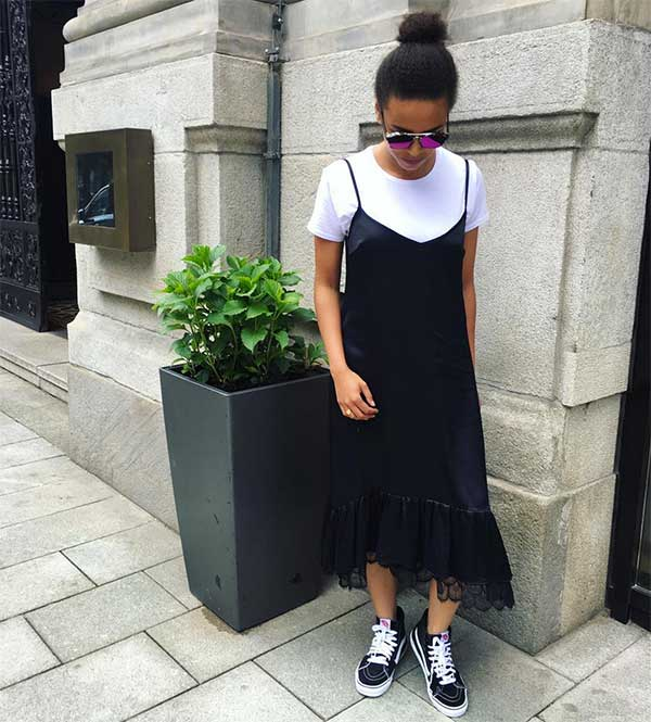4fdd4c129d7f3 Make a low-cut slip dress more casual by pairing a t-shirt underneath it.