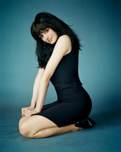 Anne Hathaway in black dress