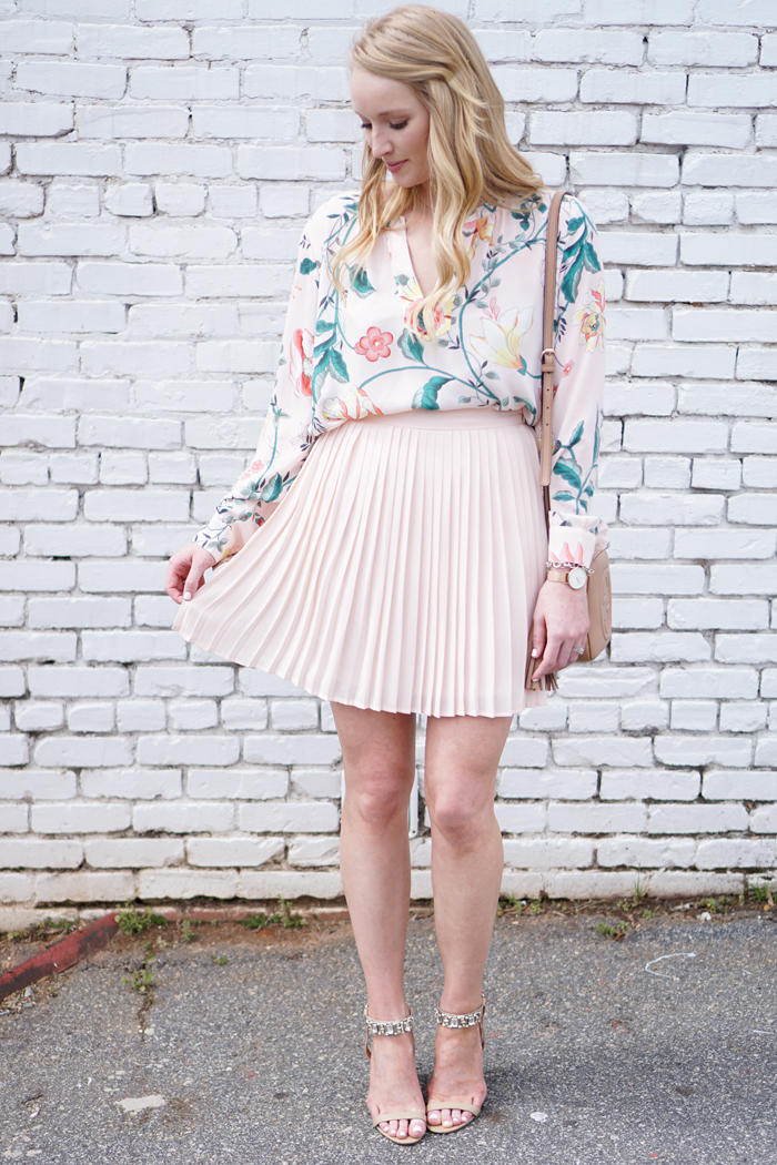 how to style a skirt and top, strawberry chic, loft vine top, peplum skirt, spring wedding guest outfit