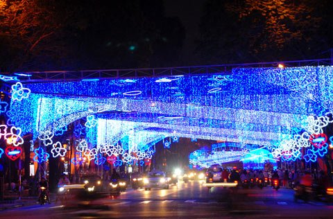 Ornamenti in occasione del Tet a Saigon viale