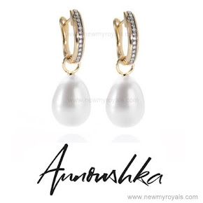 Kate Middleton wears Annoushka Pearl and Kiki Diamond Hoop Earrings