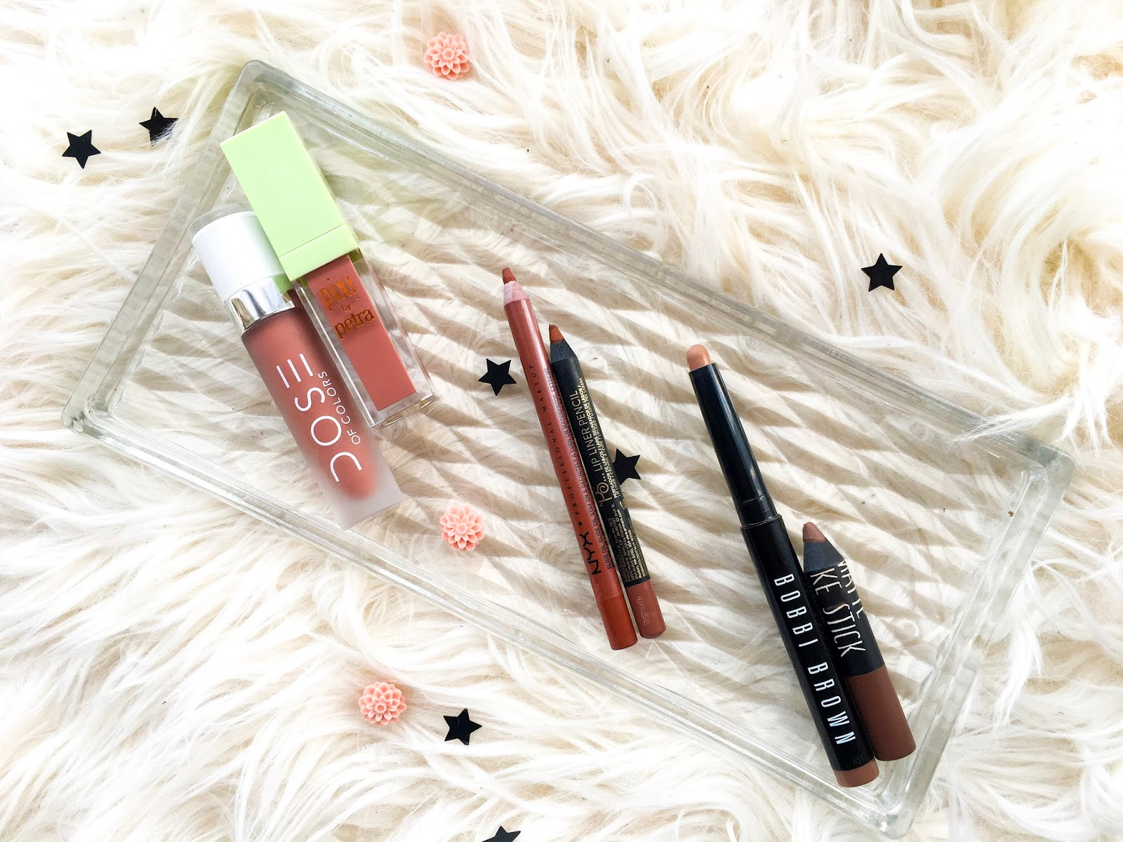 dose of colors truffle vs pixi mattelast matte beige, bobbi brown eyeshadow stick taupe vs topshop smoke stick sphere, nyx slide on lip liner intimidate vs primark lip liner toffee