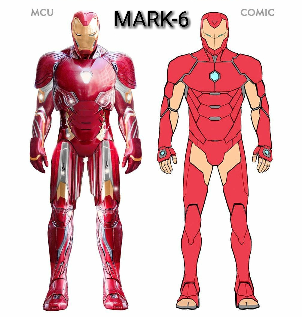all mcu ironman suits  comparison with comic suits