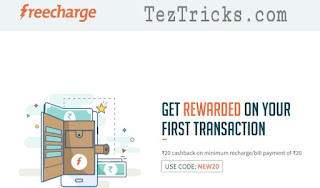 Get Rs.20 Cashback On Minimum Recharge Of Rs. 20  For New  Users of Freecharge .