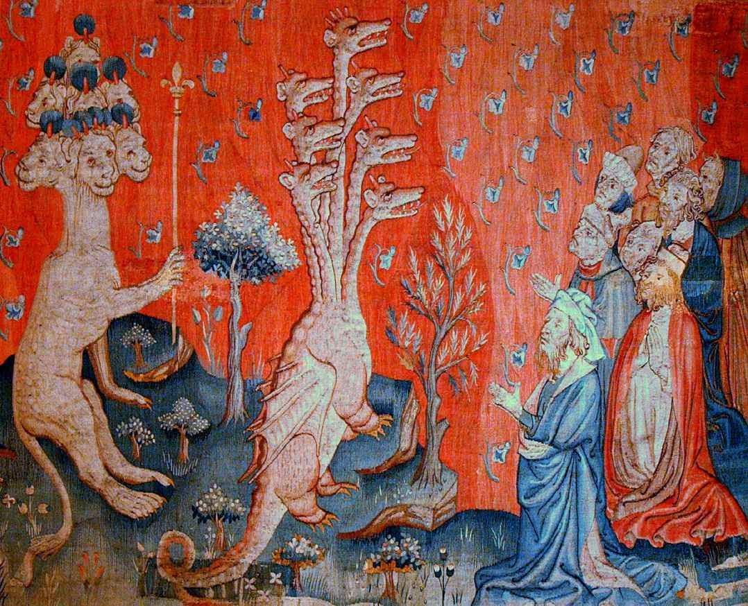 Adoração da besta. Tapeçaria do Apocalipse, Angers, França.