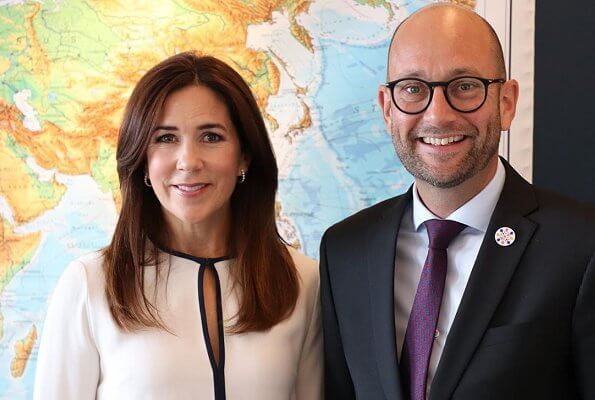 Crown Princess Mary wore a new natural matt bibby silk blouse by Joseph. Marianne Dulong diamond earrings