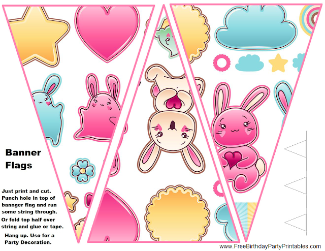 Free Kawaii Birthday Party Printables-Flag Bunting Banner