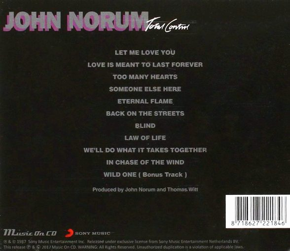 JOHN NORUM - Total Control {reissue} (2017) back