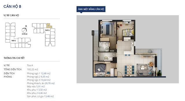 Mặt bằng chi tiết căn hộ 102 m2 - Rivera Park Hà Nội