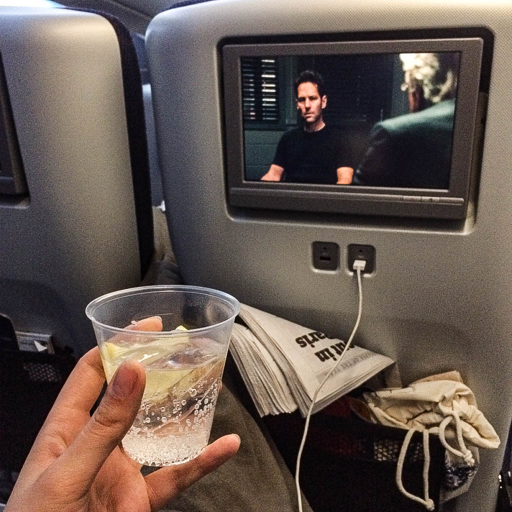 Drinks and films on British Airway premium economy flight