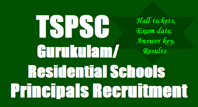 TSPSC Residential Junior Colleges Lecturers, Principals, PDs, Librarians Recruitment ,Exam date,Hall tickets, Answer key,Results