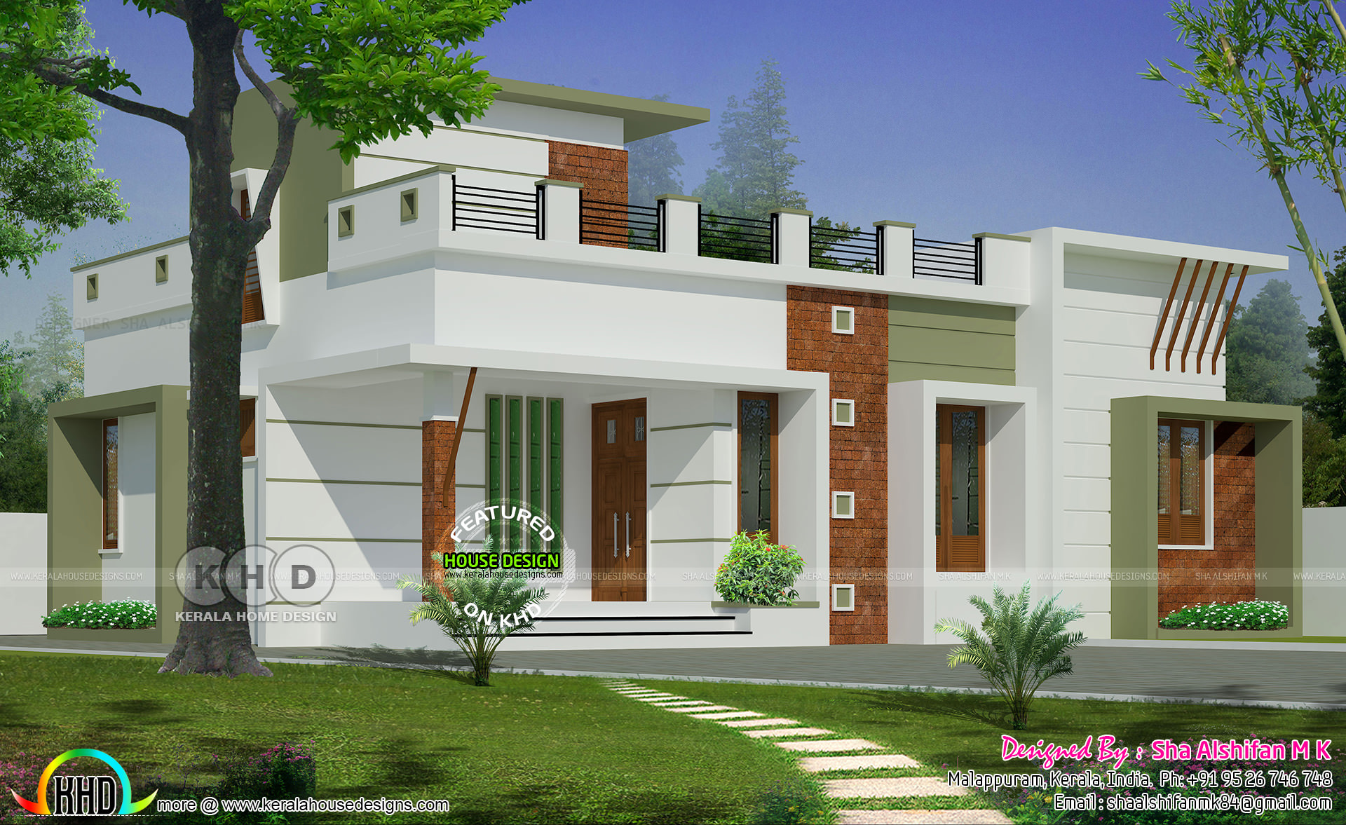 983 Sqfeet 2 Bedroom One Floor Home Kerala Home Design
