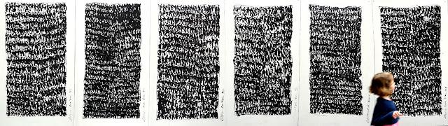 """Peintures murales sur le palissade ouest - En face des """"Petits papiers"""" - 29 Mai 2015 - Pierre Bessous « Prières » - 2015 - 01"""