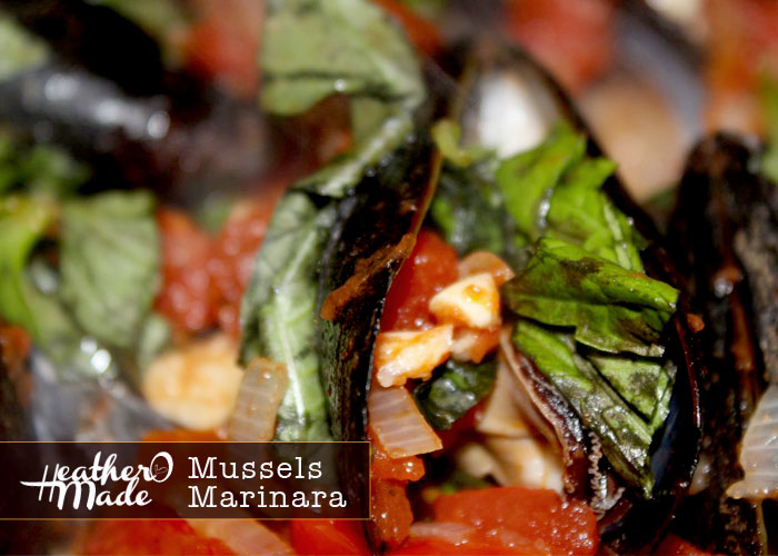 mussels marinara. heatheromade. recipe.