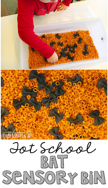 We LOVE this bat themed sensory bin. Great for tot school, preschool, or even kindergarten!