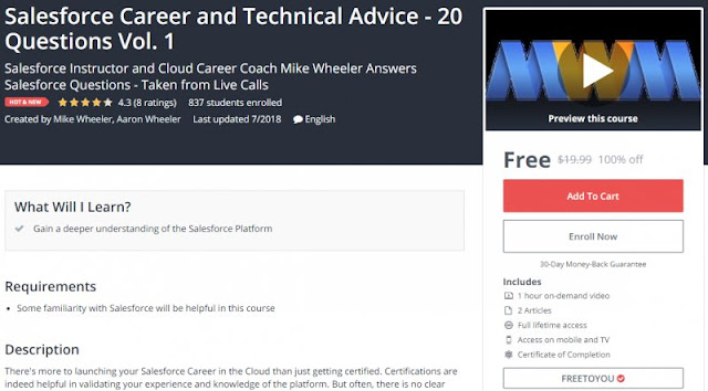 [100% Off] Salesforce Career and Technical Advice - 20 Questions Vol. 1| Worth 19,99$