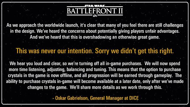 Star Wars: as microtransações em Battlefront 2 estão suspensas até que a Electronic Arts (EA) possa fazer mudanças.
