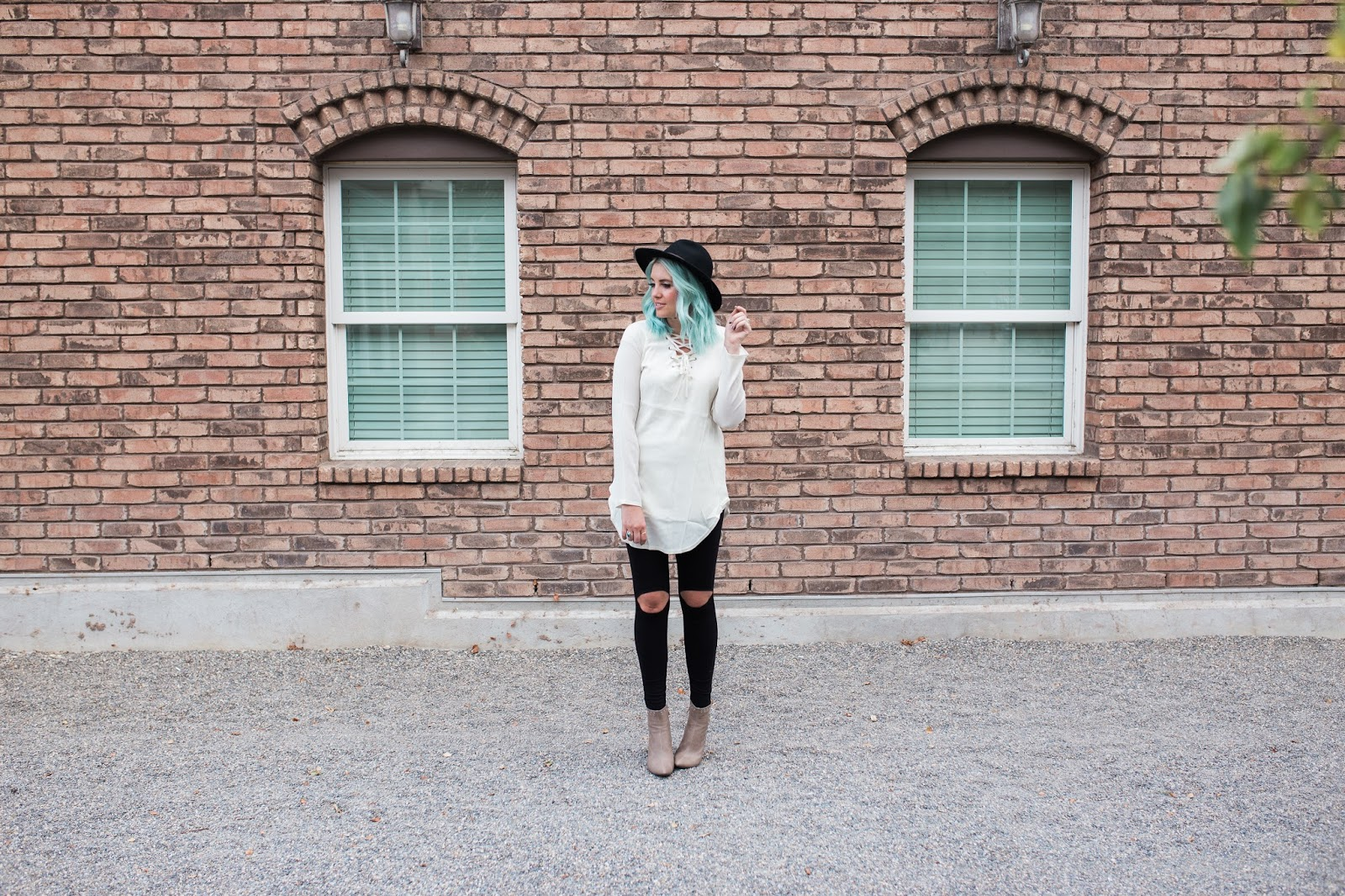 Tunic, open knee leggings, booties