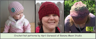 Crochet hat patterns by April Garwood of Banana Moon Studio