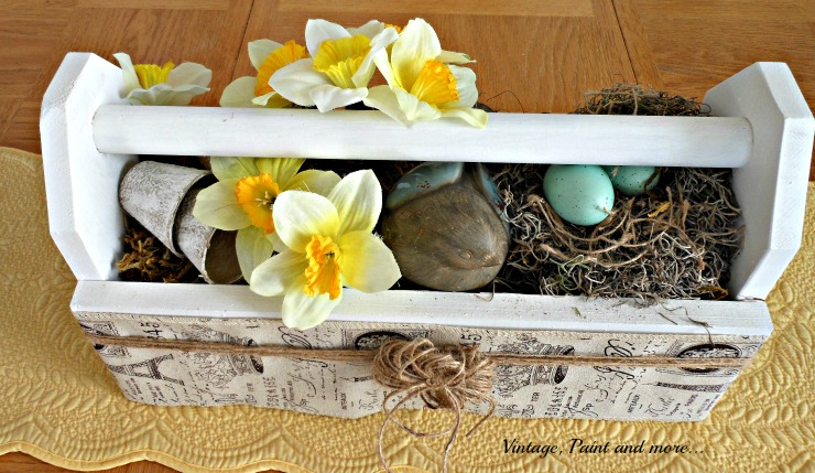 Vintage, Paint and more... vintage toolbox wrapped with French burlap ribbon and twine and filled with spring items