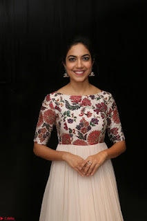 Ritu Varma smiling face Cream Anarkali dress at launch of OPPO New Selfie Camera F3 ~  Exclusive 039.JPG