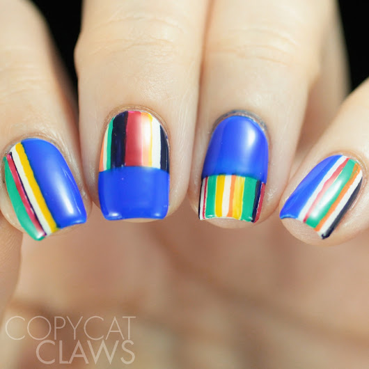 Copycat Claws Blue Color Block Nail Art: Copycat Claws