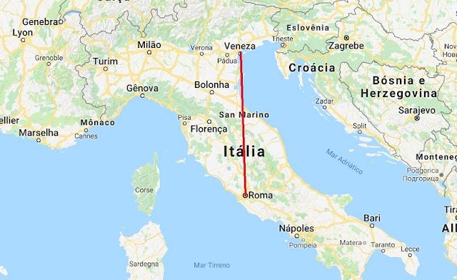 Mapa da viagem de Veneza para Roma