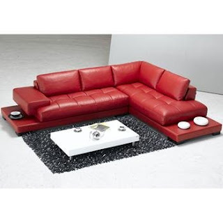 Tosh Furniture La Spezia Modern Red Leather Sectional Sofa