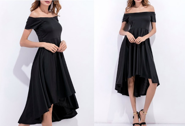 Off Shoulder High Low Flowing Dress - Black