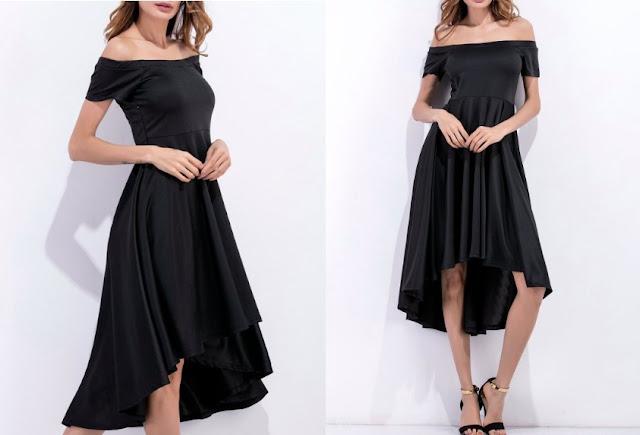Off Shoulder High Low Flowing Dress - Black