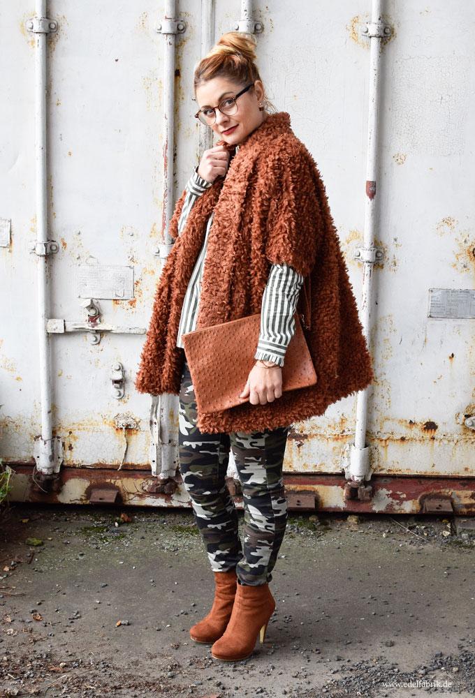 flauschige Jacke für Damen, Camouflage Hose für Frauen
