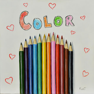 acrylic painting of colored pencils with hearts and bubble letters by artist kim testone