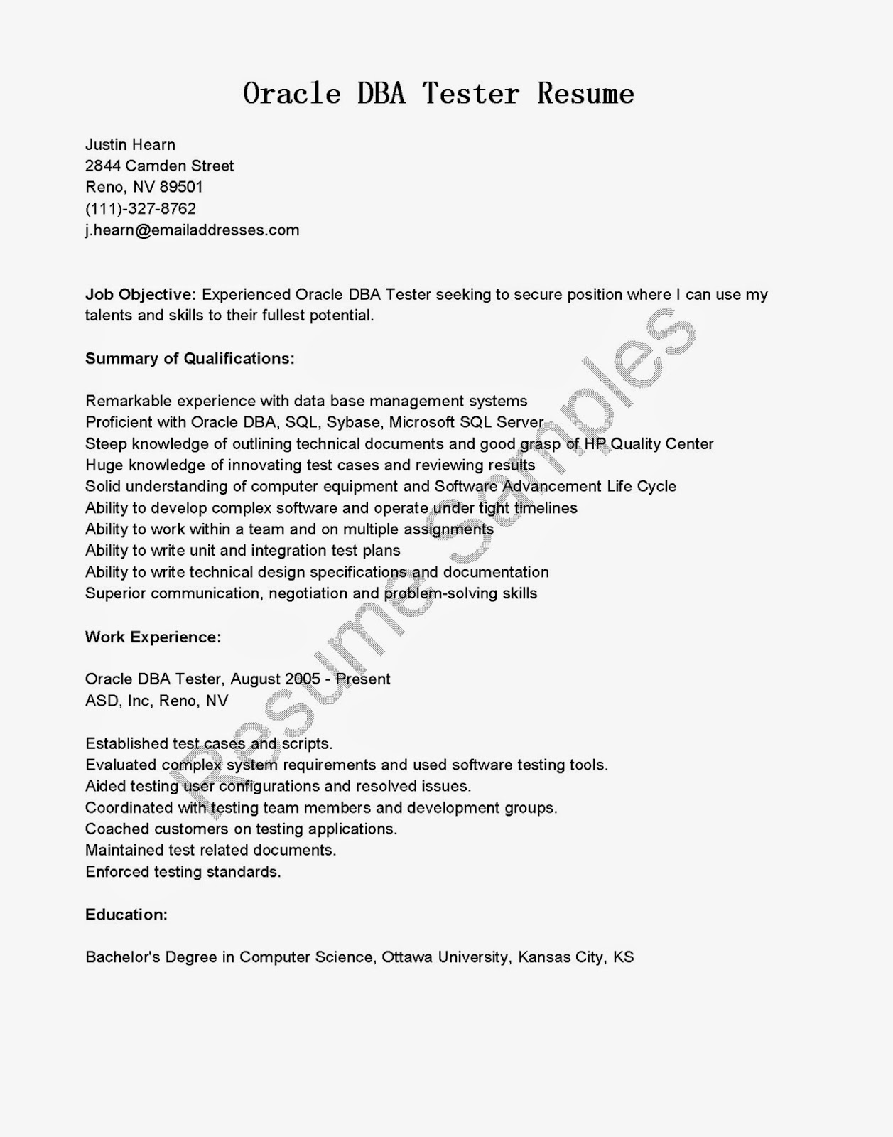Junior Oracle Dba Resume. database administrator resume sql dba ...