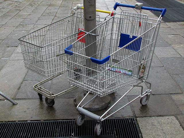 Personal supermarket carts locked to a pole, Livorno