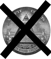 a graphic by Erika Grey of the Illuminati logo with a giant X through it signifying that conspiracy theories will not bring about the fulfillment of Bible Prophecy but rather geopolitics